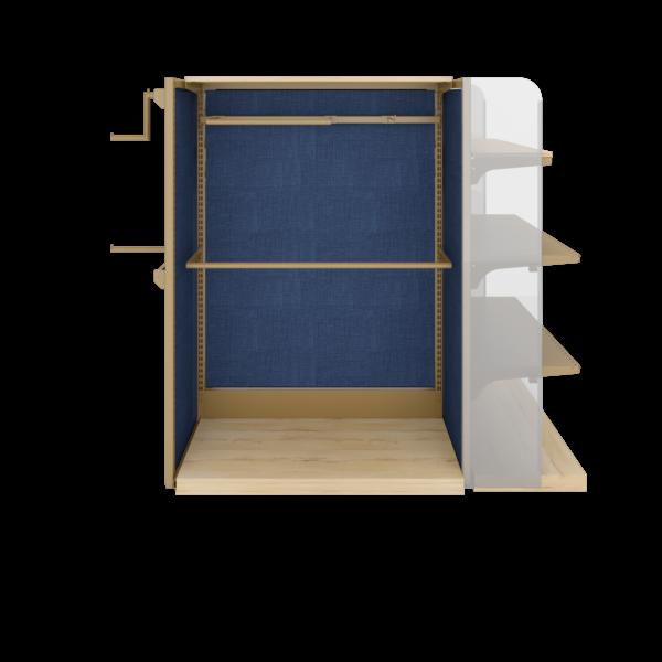 Стеллаж-гондола островная со стенкой из ткани