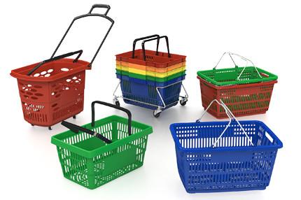 Покупательские пластиковые корзины